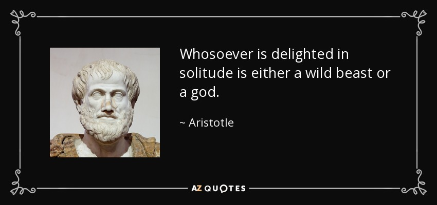 Whosoever is delighted in solitude is either a wild beast or a god. - Aristotle