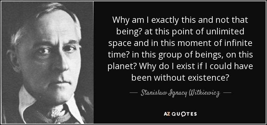 Why am I exactly this and not that being? at this point of unlimited space and in this moment of infinite time? in this group of beings, on this planet? Why do I exist if I could have been without existence? - Stanislaw Ignacy Witkiewicz
