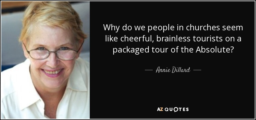 Why do we people in churches seem like cheerful, brainless tourists on a packaged tour of the Absolute? - Annie Dillard
