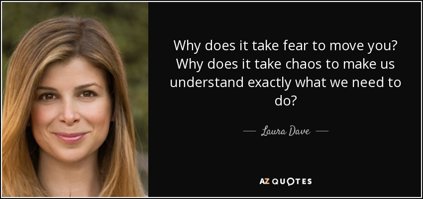 Why does it take fear to move you? Why does it take chaos to make us understand exactly what we need to do? - Laura Dave