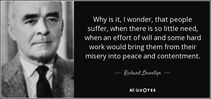 Why is it, I wonder, that people suffer, when there is so little need, when an effort of will and some hard work would bring them from their misery into peace and contentment. - Richard Llewellyn