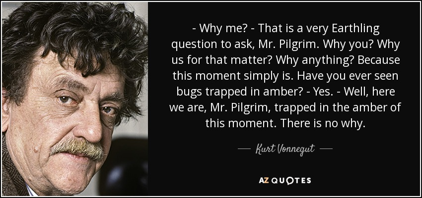 - Why me? - That is a very Earthling question to ask, Mr. Pilgrim. Why you? Why us for that matter? Why anything? Because this moment simply is. Have you ever seen bugs trapped in amber? - Yes. - Well, here we are, Mr. Pilgrim, trapped in the amber of this moment. There is no why. - Kurt Vonnegut