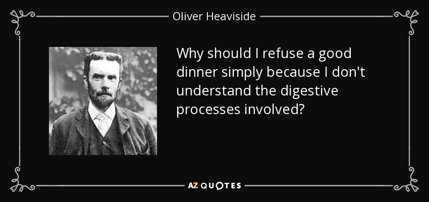 Why should I refuse a good dinner simply because I don't understand the digestive processes involved? - Oliver Heaviside