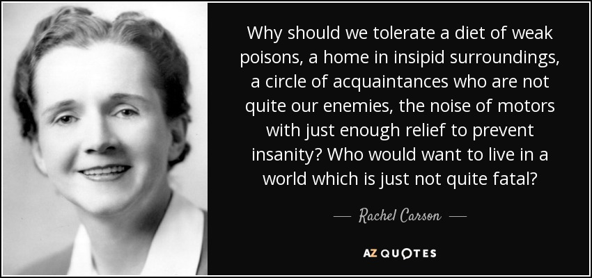 Why should we tolerate a diet of weak poisons, a home in insipid surroundings, a circle of acquaintances who are not quite our enemies, the noise of motors with just enough relief to prevent insanity? Who would want to live in a world which is just not quite fatal? - Rachel Carson