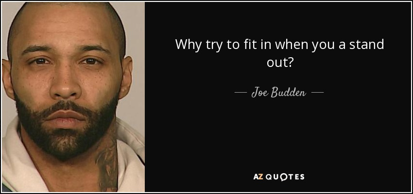 Why try to fit in when you a stand out? - Joe Budden