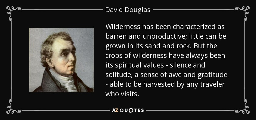 Wilderness has been characterized as barren and unproductive; little can be grown in its sand and rock. But the crops of wilderness have always been its spiritual values - silence and solitude, a sense of awe and gratitude - able to be harvested by any traveler who visits. - David Douglas