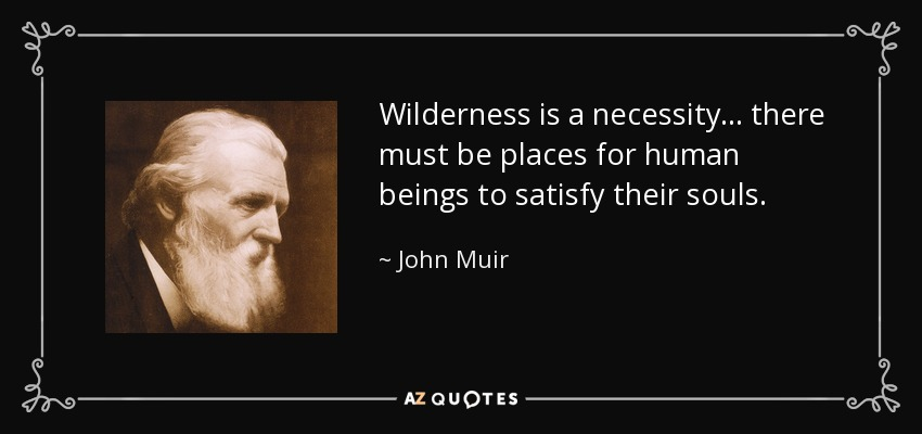Wilderness is a necessity... there must be places for human beings to satisfy their souls. - John Muir