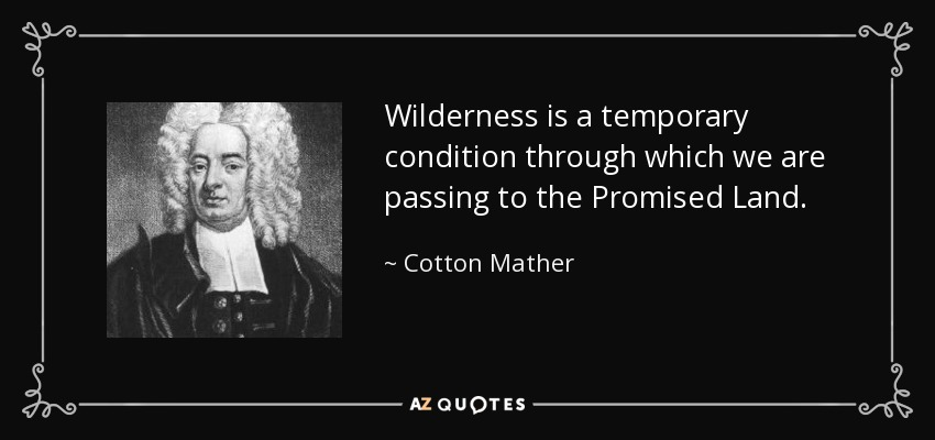 Wilderness is a temporary condition through which we are passing to the Promised Land. - Cotton Mather