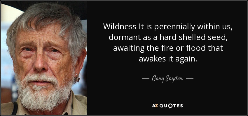Wildness It is perennially within us, dormant as a hard-shelled seed, awaiting the fire or flood that awakes it again. - Gary Snyder