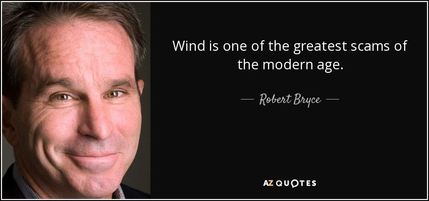 Wind is one of the greatest scams of the modern age. - Robert Bryce