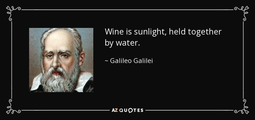 Wine is sunlight, held together by water. - Galileo Galilei