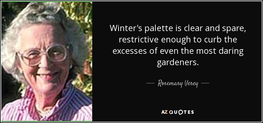 Winter's palette is clear and spare, restrictive enough to curb the excesses of even the most daring gardeners. - Rosemary Verey