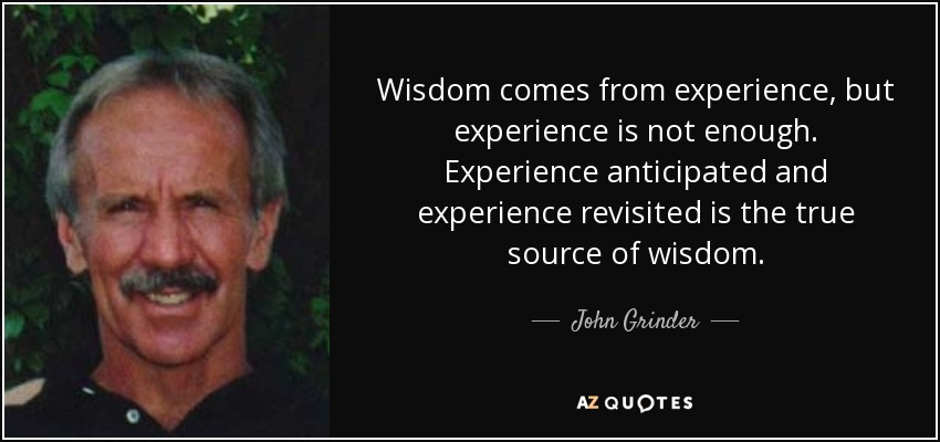 Wisdom comes from experience, but experience is not enough. Experience anticipated and experience revisited is the true source of wisdom. - John Grinder
