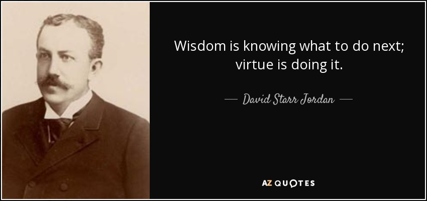 Wisdom is knowing what to do next; virtue is doing it. - David Starr Jordan