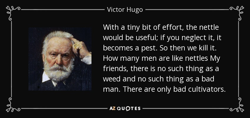 With a tiny bit of effort, the nettle would be useful; if you neglect it, it becomes a pest. So then we kill it. How many men are like nettles My friends, there is no such thing as a weed and no such thing as a bad man. There are only bad cultivators. - Victor Hugo