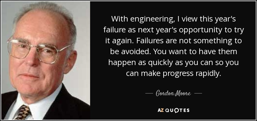With engineering, I view this year's failure as next year's opportunity to try it again. Failures are not something to be avoided. You want to have them happen as quickly as you can so you can make progress rapidly. - Gordon Moore