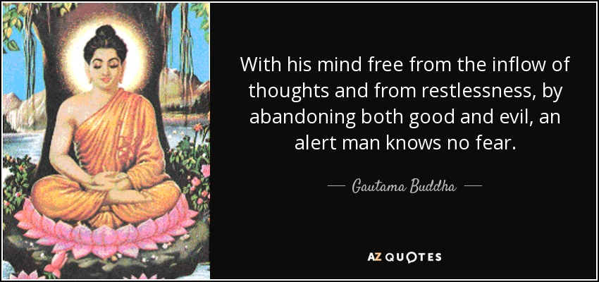 With his mind free from the inflow of thoughts and from restlessness, by abandoning both good and evil, an alert man knows no fear. - Gautama Buddha
