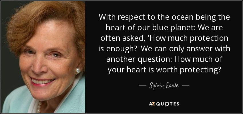 With respect to the ocean being the heart of our blue planet: We are often asked, 'How much protection is enough?' We can only answer with another question: How much of your heart is worth protecting? - Sylvia Earle