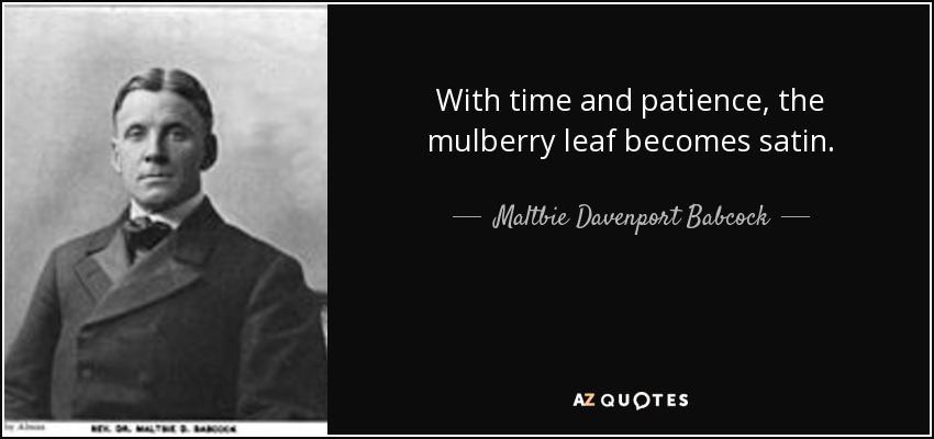 With time and patience, the mulberry leaf becomes satin. - Maltbie Davenport Babcock