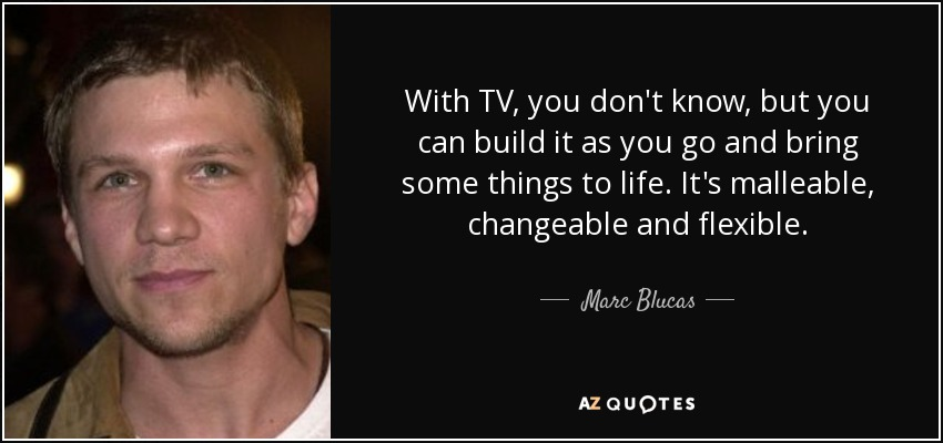 With TV, you don't know, but you can build it as you go and bring some things to life. It's malleable, changeable and flexible. - Marc Blucas