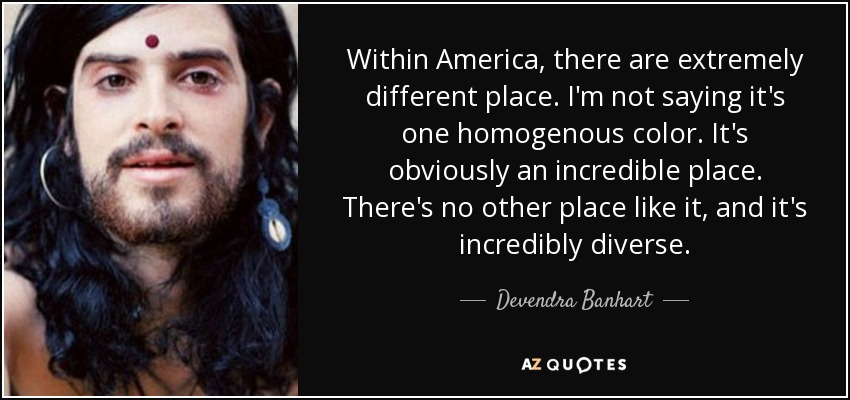 Within America, there are extremely different place. I'm not saying it's one homogenous color. It's obviously an incredible place. There's no other place like it, and it's incredibly diverse. - Devendra Banhart