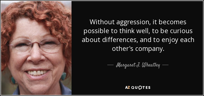 Without aggression, it becomes possible to think well, to be curious about differences, and to enjoy each other's company. - Margaret J. Wheatley