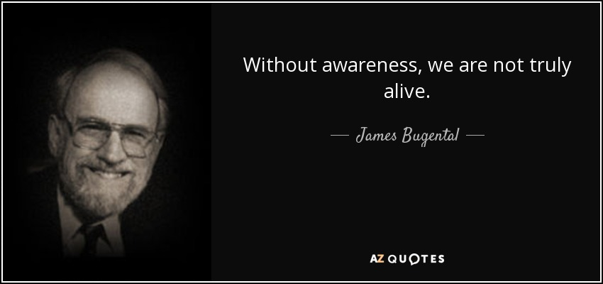 Without awareness, we are not truly alive. - James Bugental
