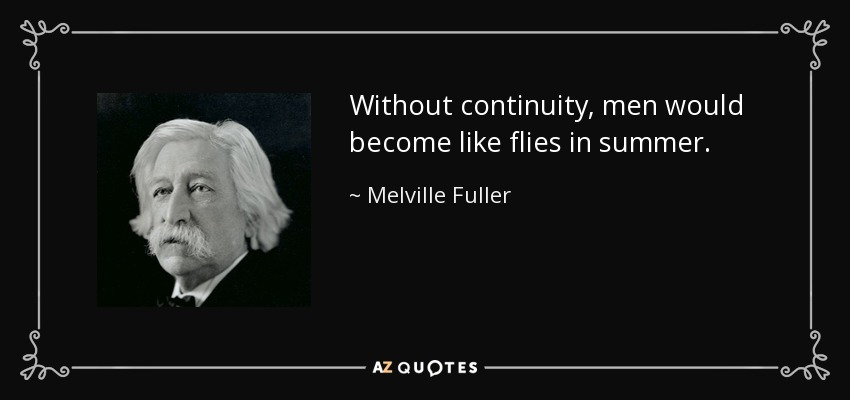 Without continuity, men would become like flies in summer. - Melville Fuller