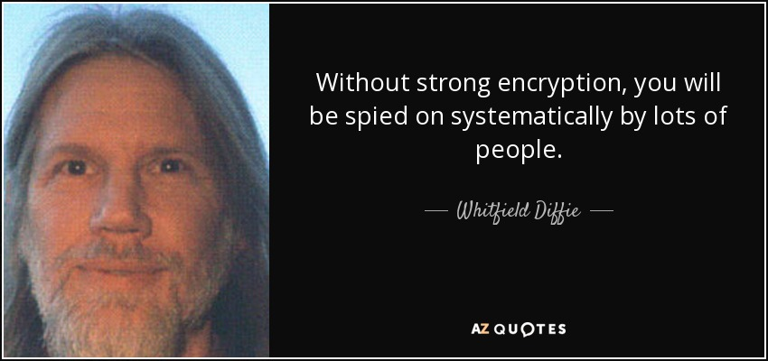 Without strong encryption, you will be spied on systematically by lots of people. - Whitfield Diffie