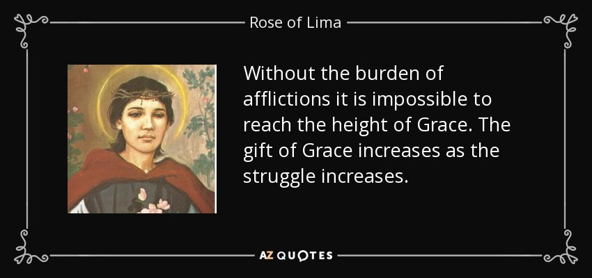 Without the burden of afflictions it is impossible to reach the height of Grace. The gift of Grace increases as the struggle increases. - Rose of Lima