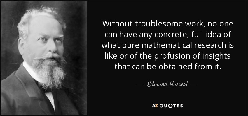 Without troublesome work, no one can have any concrete, full idea of what pure mathematical research is like or of the profusion of insights that can be obtained from it. - Edmund Husserl