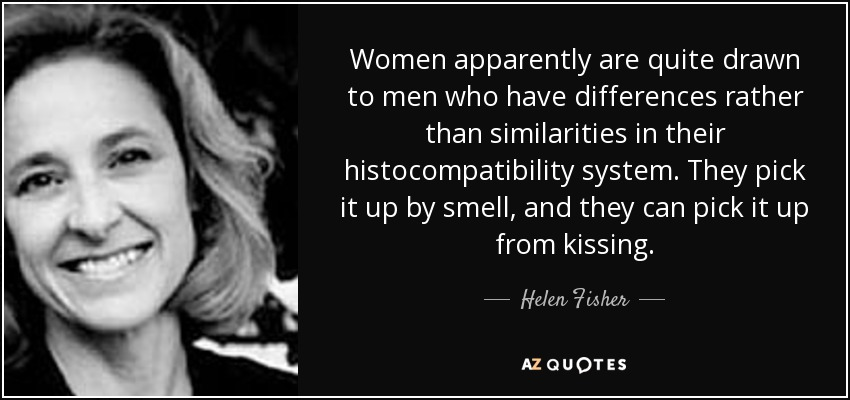 Women apparently are quite drawn to men who have differences rather than similarities in their histocompatibility system. They pick it up by smell, and they can pick it up from kissing. - Helen Fisher