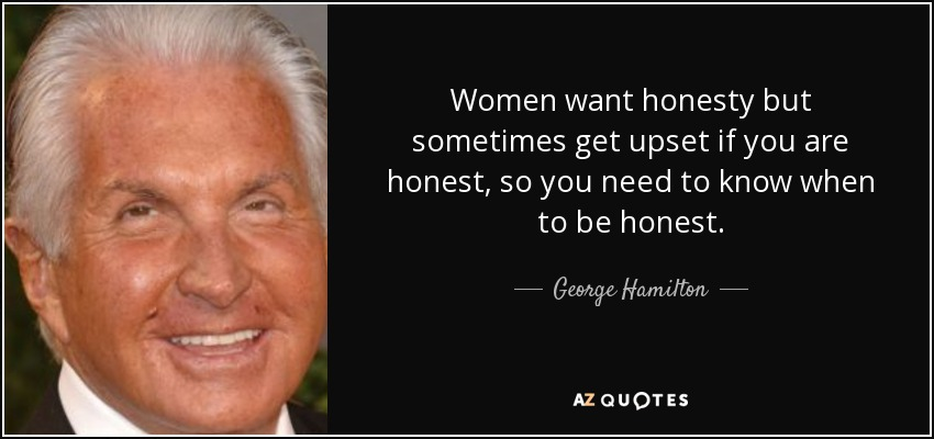 Women want honesty but sometimes get upset if you are honest, so you need to know when to be honest. - George Hamilton