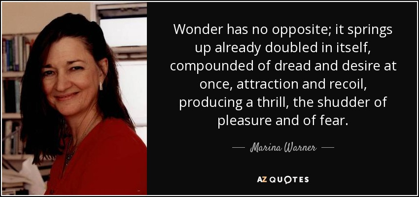 Wonder has no opposite; it springs up already doubled in itself, compounded of dread and desire at once, attraction and recoil, producing a thrill, the shudder of pleasure and of fear. - Marina Warner