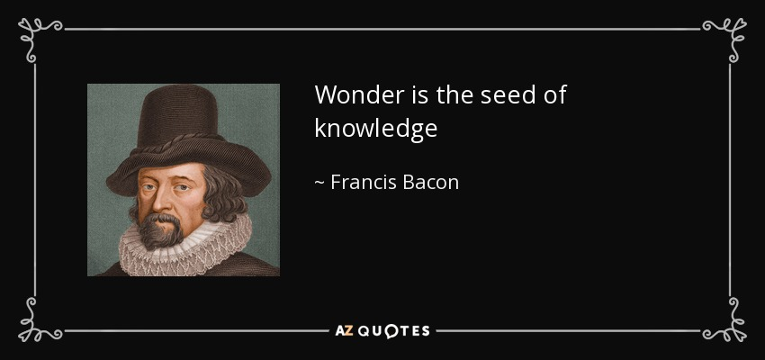 Wonder is the seed of knowledge - Francis Bacon