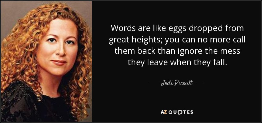Words are like eggs dropped from great heights; you can no more call them back than ignore the mess they leave when they fall. - Jodi Picoult