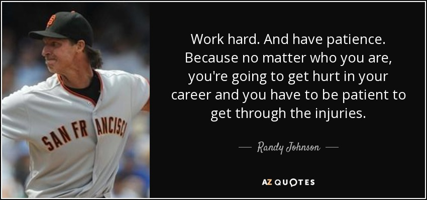 Work hard. And have patience. Because no matter who you are, you're going to get hurt in your career and you have to be patient to get through the injuries. - Randy Johnson