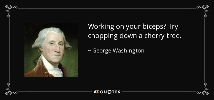 Working on your biceps? Try chopping down a cherry tree. - George Washington