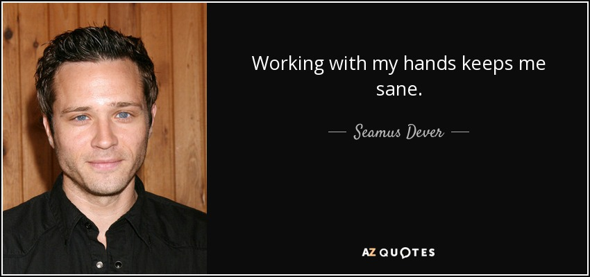 Working with my hands keeps me sane. - Seamus Dever