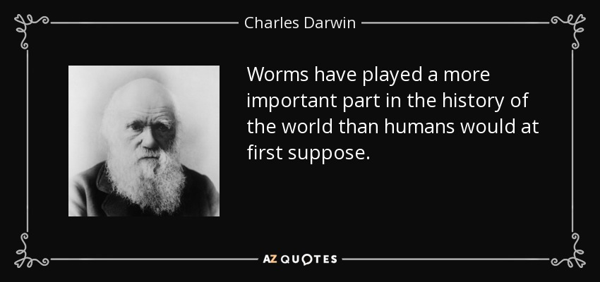 Worms have played a more important part in the history of the world than humans would at first suppose. - Charles Darwin