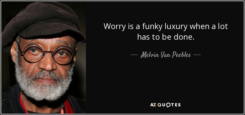 Worry is a funky luxury when a lot has to be done. - Melvin Van Peebles