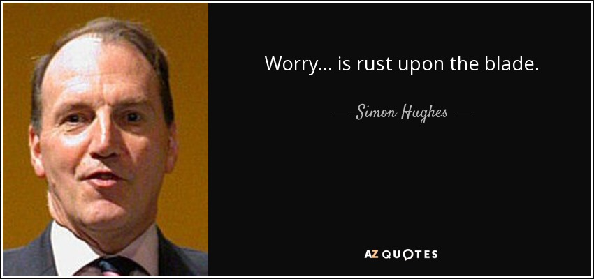 Worry... is rust upon the blade. - Simon Hughes