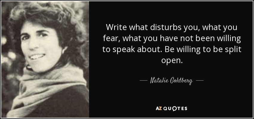 Write what disturbs you, what you fear, what you have not been willing to speak about. Be willing to be split open. - Natalie Goldberg
