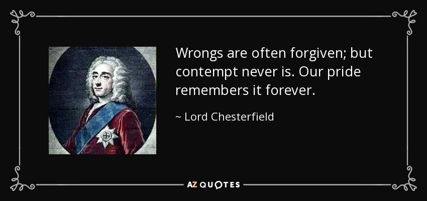 Wrongs are often forgiven, but contempt never is. Our pride remembers it forever. - Lord Chesterfield