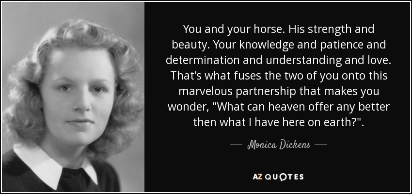 You and your horse. His strength and beauty. Your knowledge and patience and determination and understanding and love. That's what fuses the two of you onto this marvelous partnership that makes you wonder,