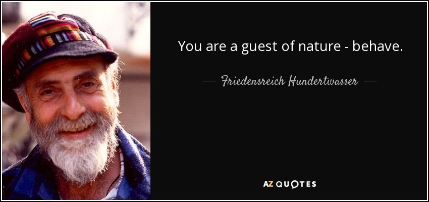 You are a guest of nature - behave. - Friedensreich Hundertwasser