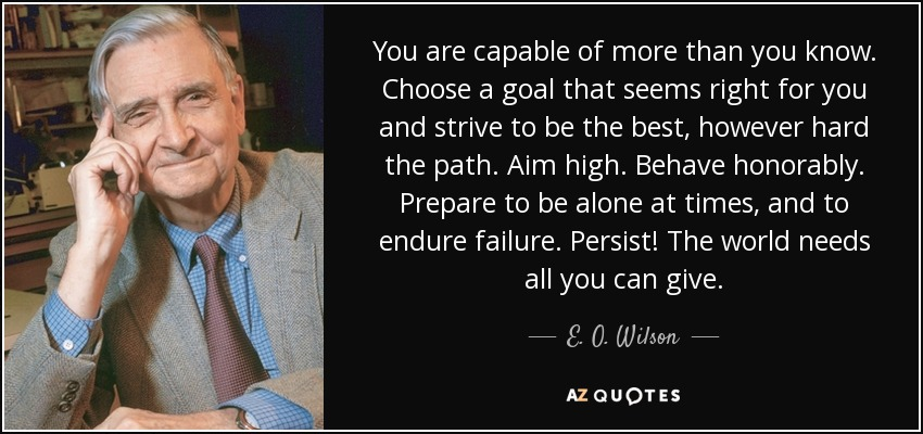 You are capable of more than you know. Choose a goal that seems right for you and strive to be the best, however hard the path. Aim high. Behave honorably. Prepare to be alone at times, and to endure failure. Persist! The world needs all you can give. - E. O. Wilson