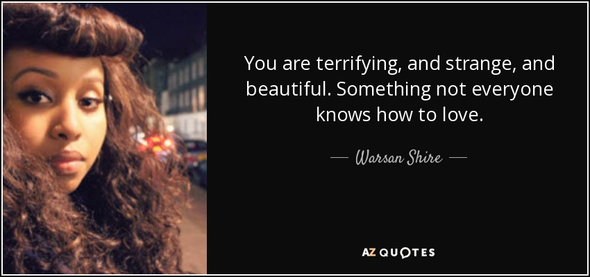 You are terrifying, and strange, and beautiful. Something not everyone knows how to love. - Warsan Shire