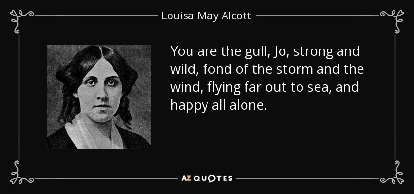 You are the gull, Jo, strong and wild, fond of the storm and the wind, flying far out to sea, and happy all alone. - Louisa May Alcott