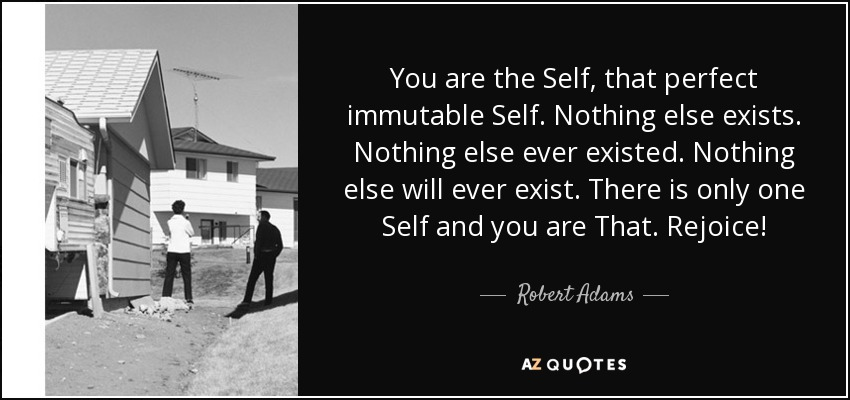 You are the Self, that perfect immutable Self. Nothing else exists. Nothing else ever existed. Nothing else will ever exist. There is only one Self and you are That. Rejoice! - Robert Adams